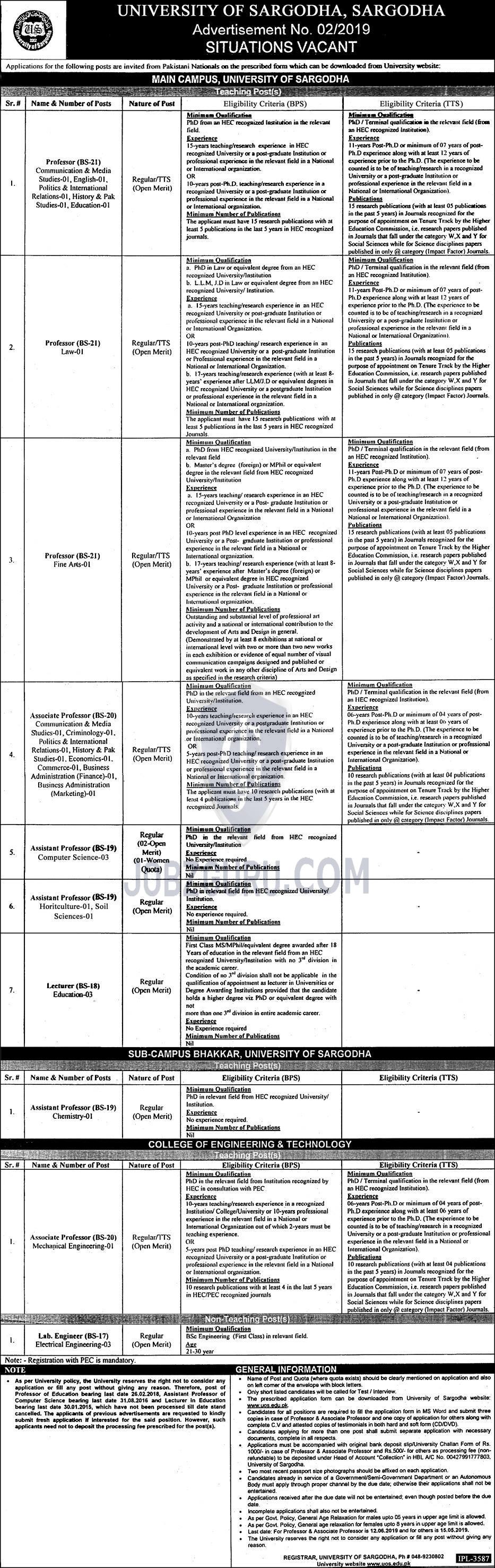 University of Sargodha Jobs 2019 Teaching and Non-Teaching Posts-thumbnail